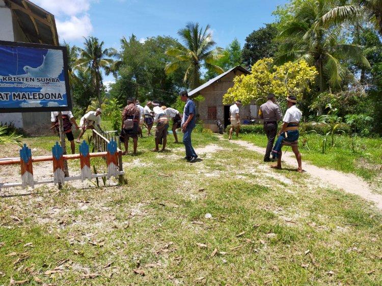 Serentak Cegah Corona | Kapolsek Lamboya Pimpin Kurve di GKS Jemaat Maledona & Lingkungan Sekitarnya