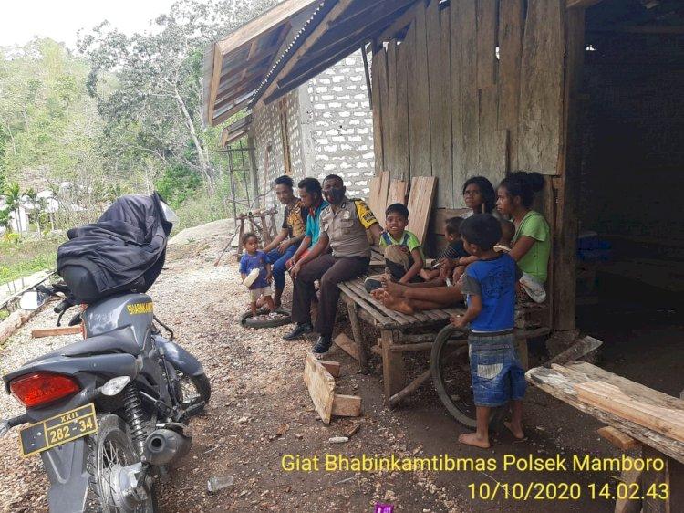 Bhabinkamtibmas Polsek Mamboro Lakukan Sambang Desa Sampaikan Pesan Kamtibmas