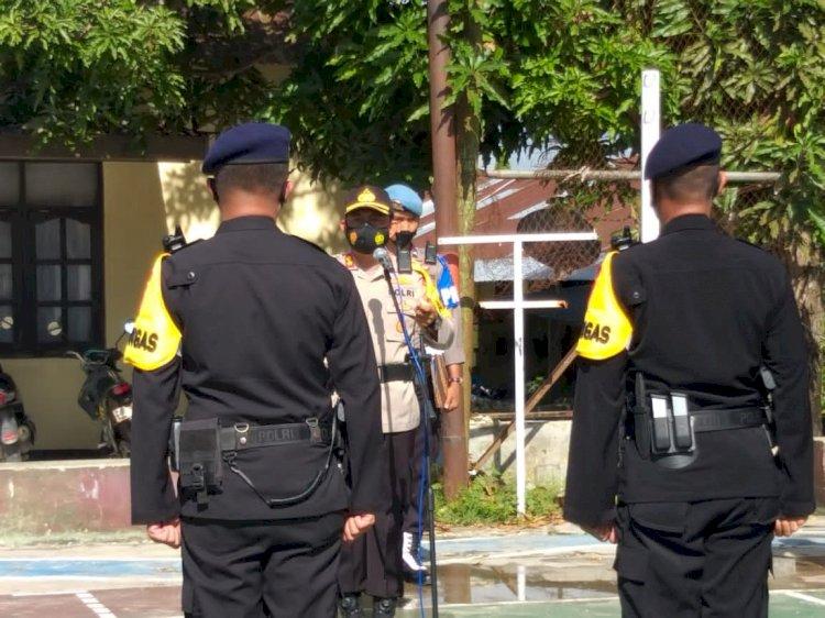 Kedepankan Persuasif, Pesan Kapolres Ketika Memimpin Apel Kesiapan Pengamanan Pasukan BKO Brimob Nusantara