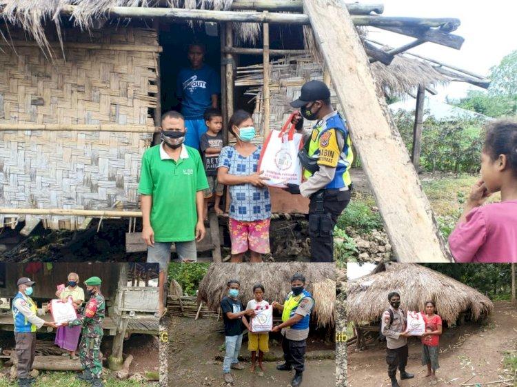 Hingga Ke Plosok Desa, Bhabinkamtibmas Dan Babinsa Mendistribusikan Bantuan Presiden Joko Widodo