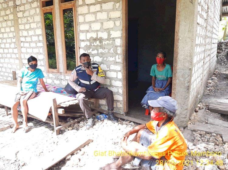 Cegah Lonjakan Covid-19 Dan Tindak Pidana, Bhabinkamtibmas Polsek Mamboro Sambang Desa Ole Dewa